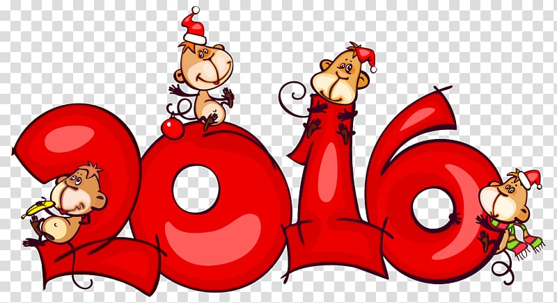 New year with monkeys. 2016 clipart christmas