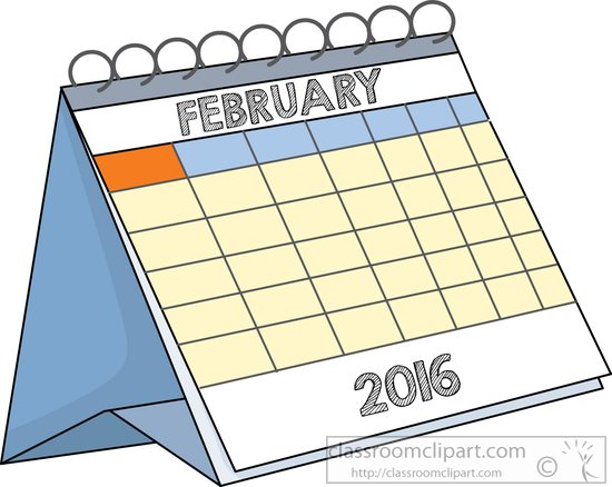 Calendar clipart february. Desk classroom deskcalendarfebruaryjpg