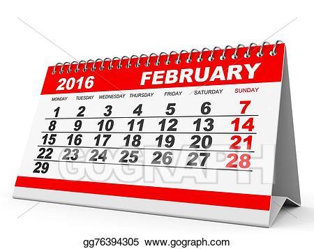 2016 clipart february. Stock illustration calendar gg