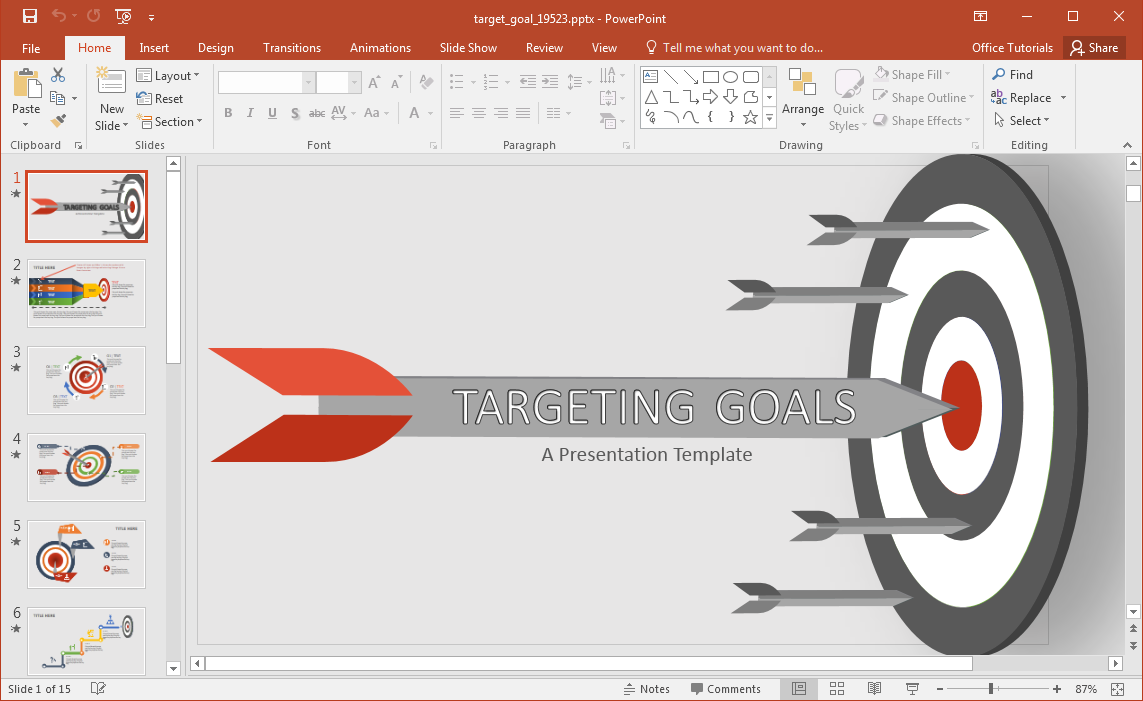 Animated target powerpoint template. 2016 clipart goal