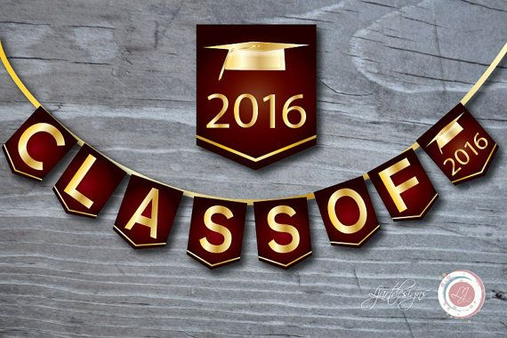 2016 clipart graduation party. Digital maroon and gold