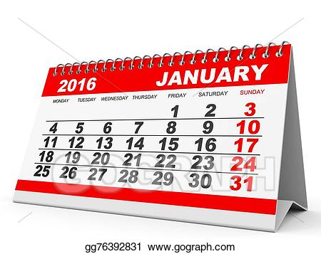 Stock illustration calendar . 2016 clipart january