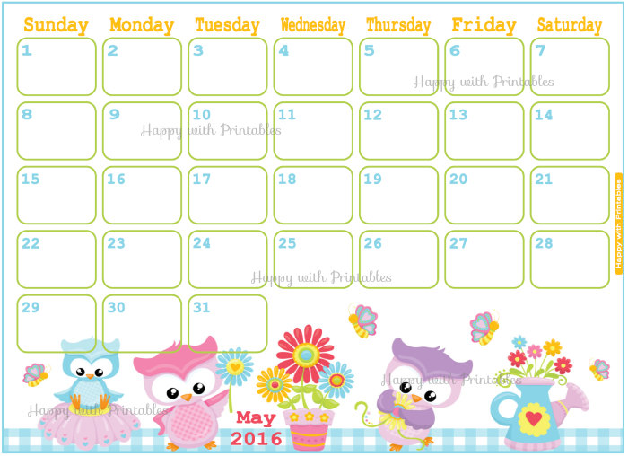 Cute calendar . 2016 clipart may 2016