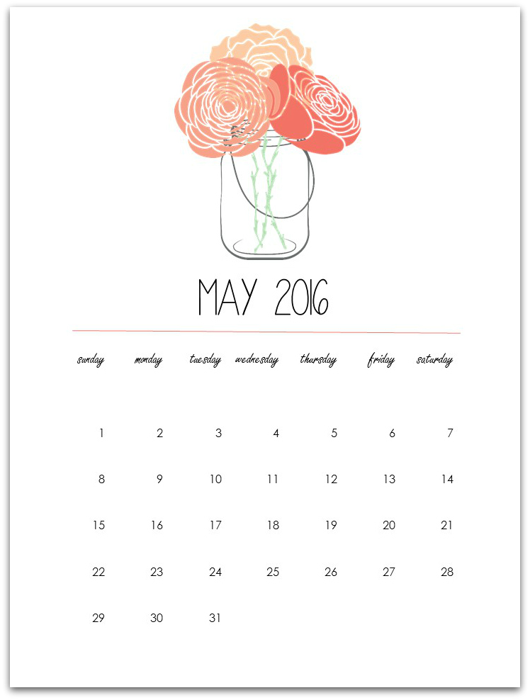 2016 clipart may 2016. Calendar page printable mason