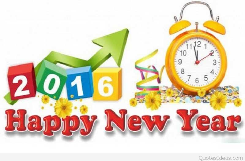 2016 clipart new year. Cute happy clock image