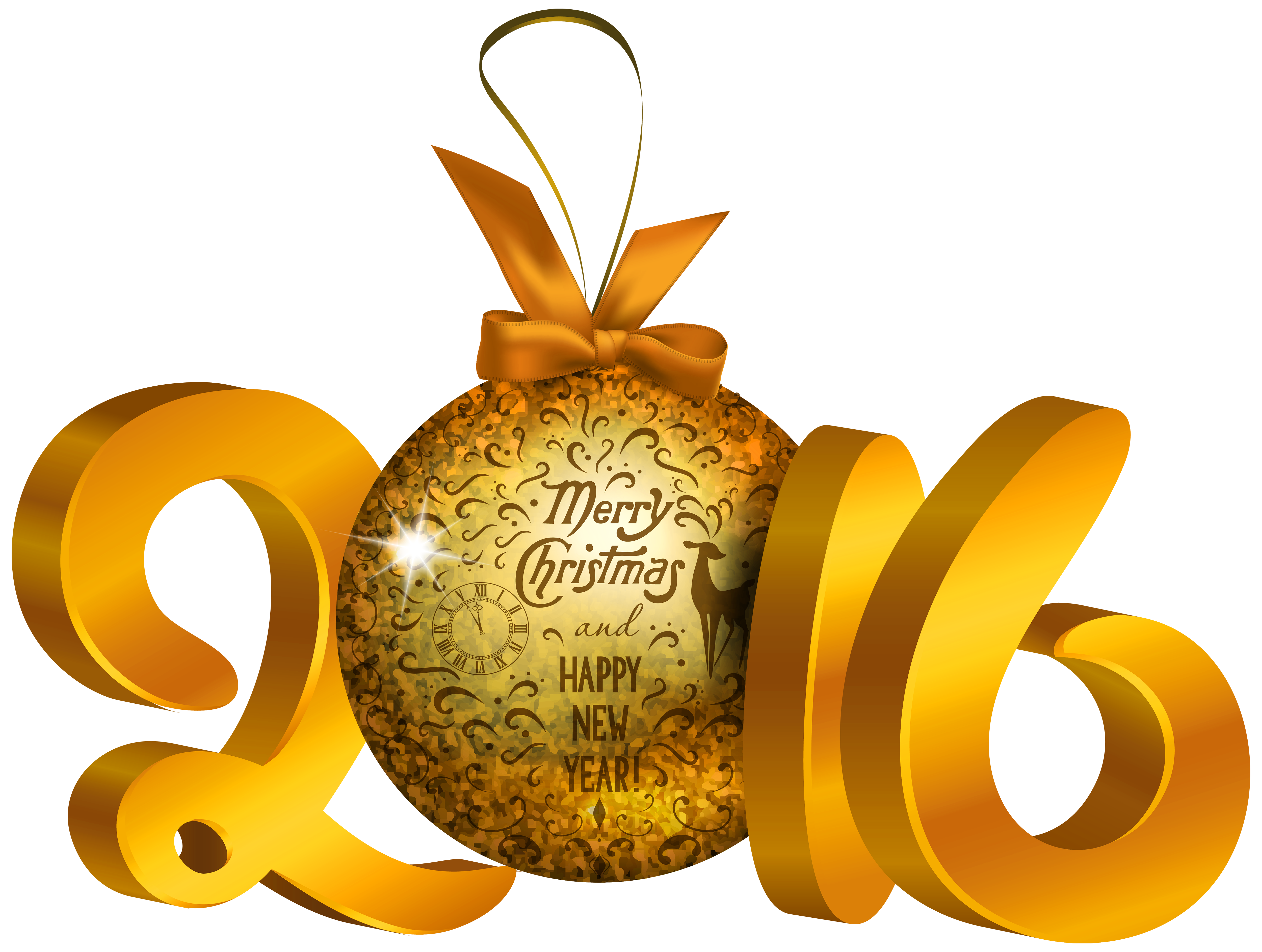 Yellow decoration png image. 2016 clipart new year