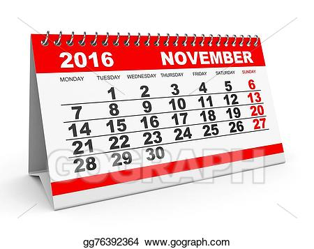 2016 clipart november. Calendar stock illustration gg