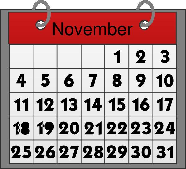 2016 clipart november. Calendar clip art black