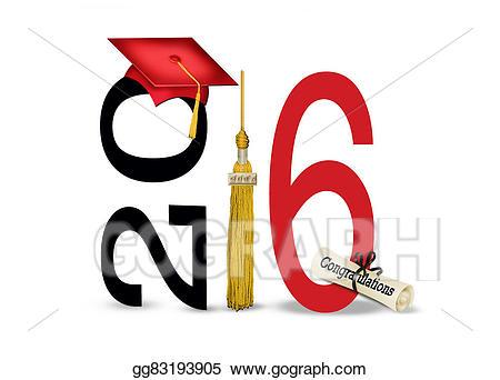 2016 clipart red. Stock illustrations graduation cap