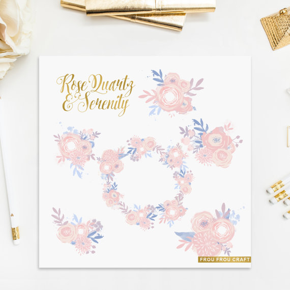 Pantone blue pink flowers. 2016 clipart wedding