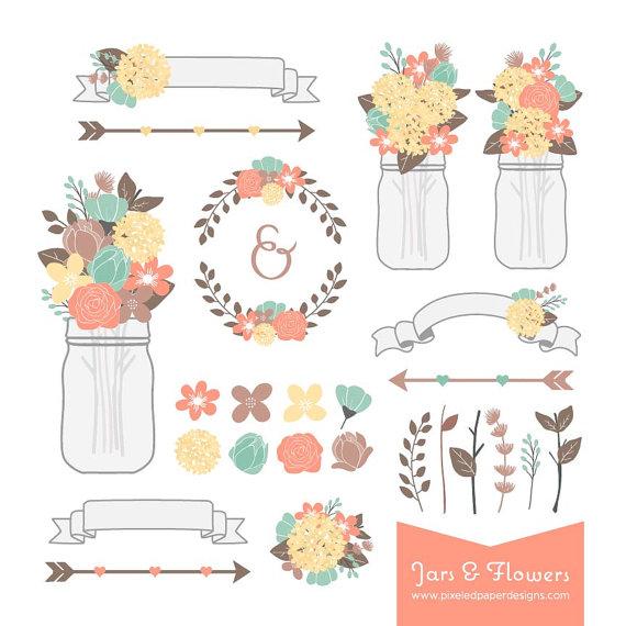 Rustic flower mason jar. 2016 clipart wedding