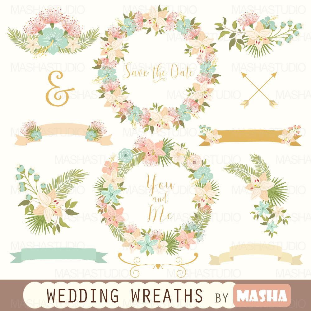 2016 clipart wedding. Masha studio flower wreaths