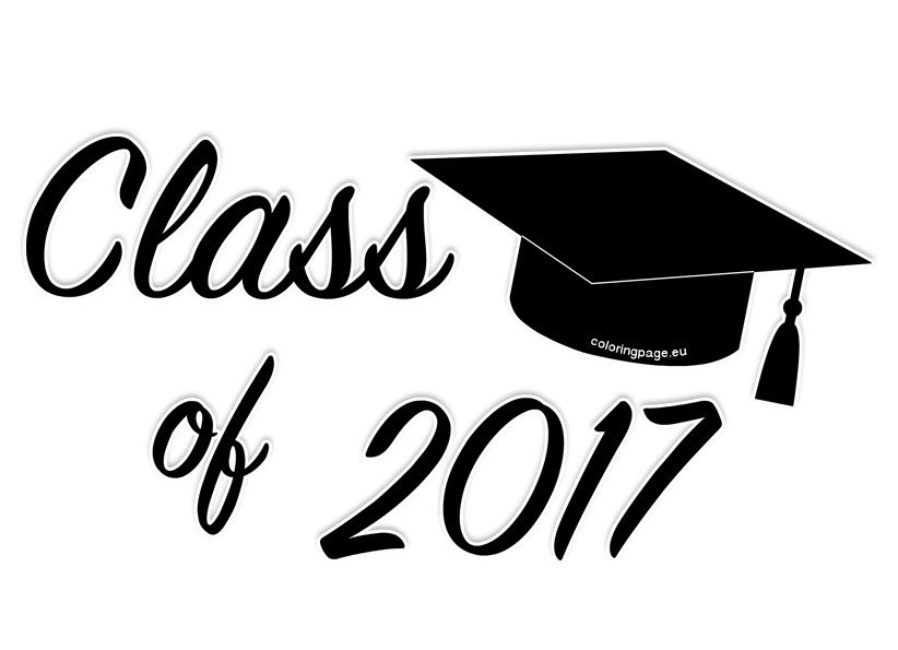 Class of graduation clip. 2017 clipart black and white