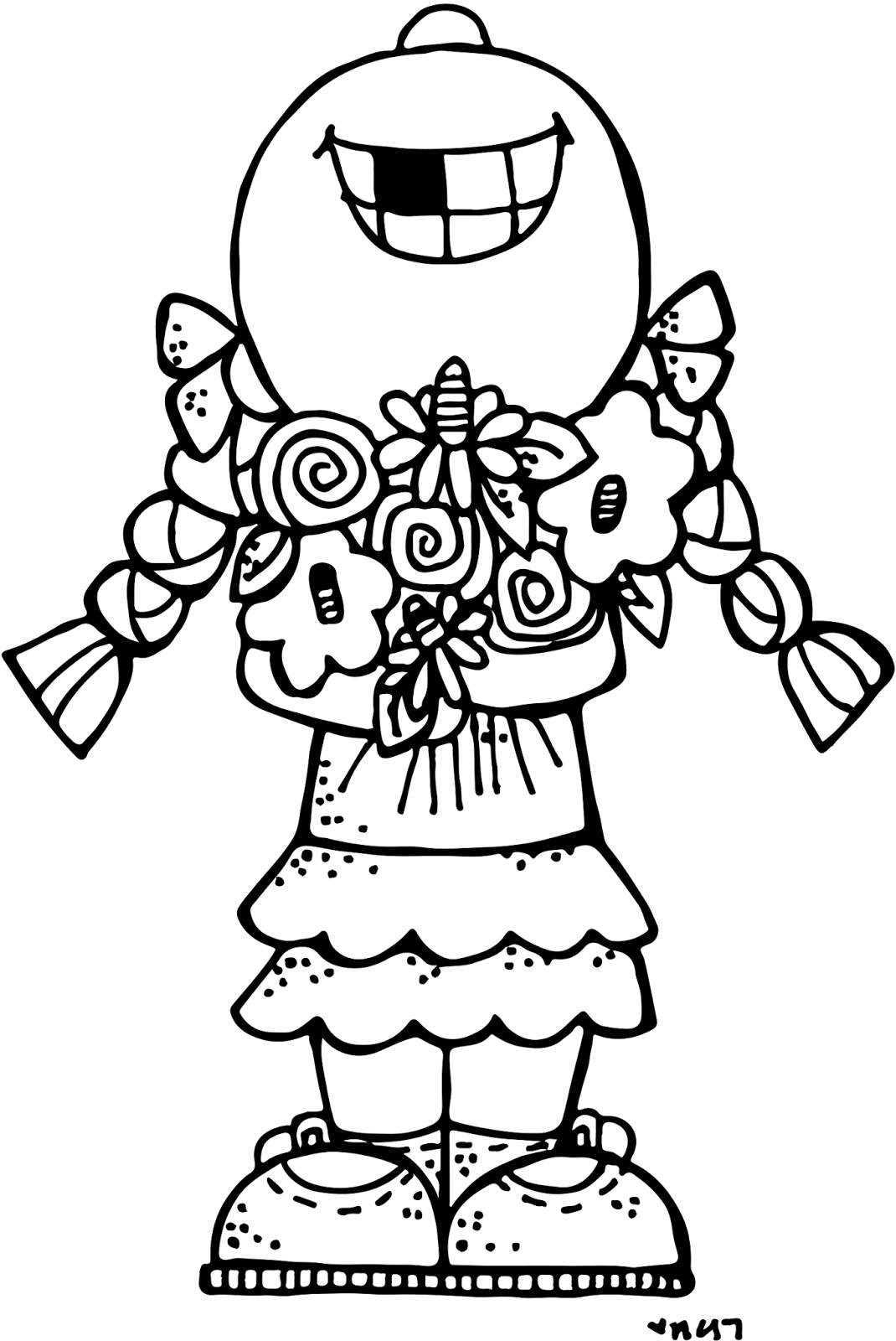 Welcome spring girl c. Wow clipart black and white