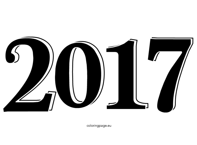 Happy new year clip. 2017 clipart black and white