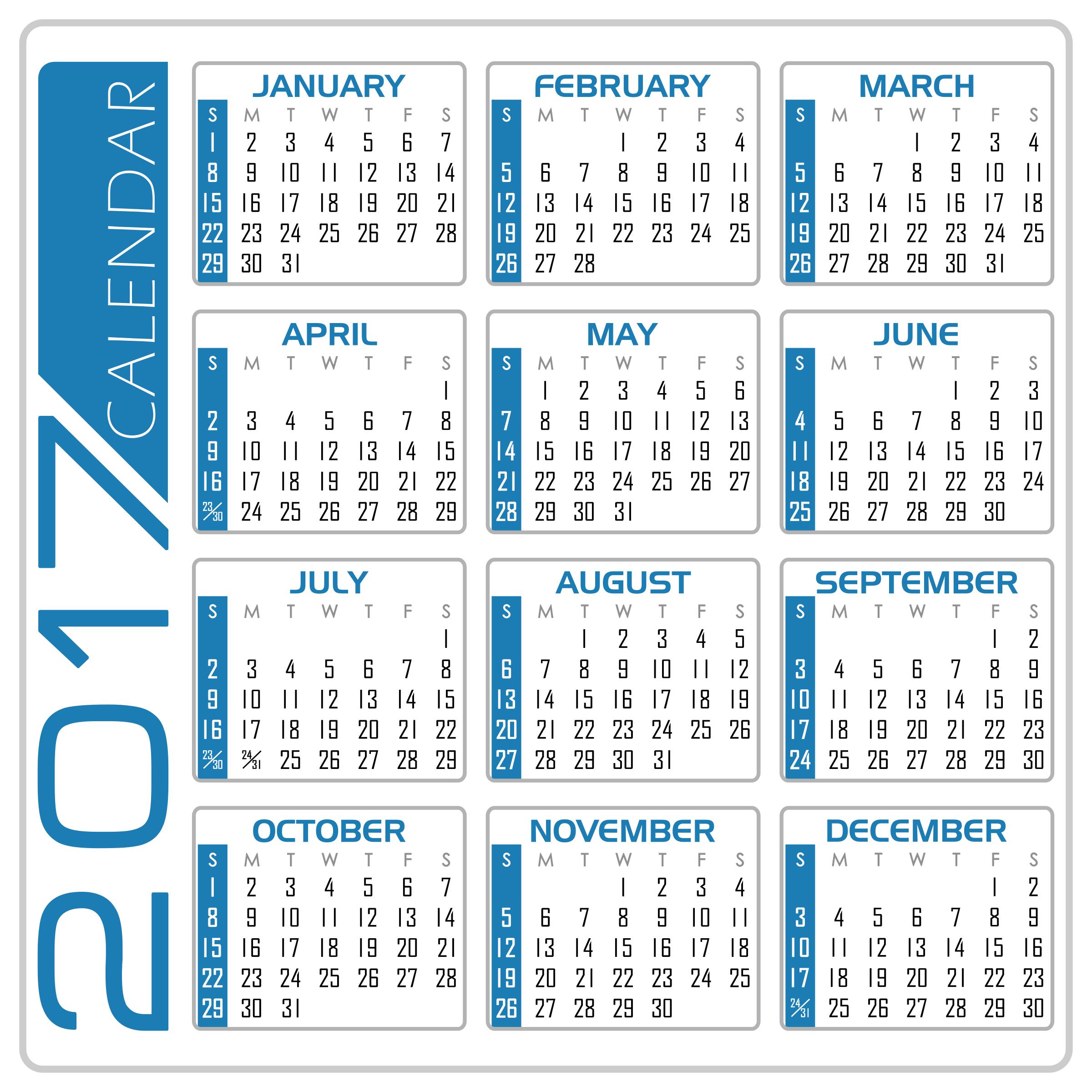 Calendar english version white. 2017 clipart blue