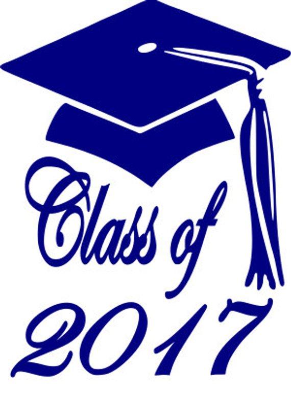 Class of graduation cap. 2017 clipart blue