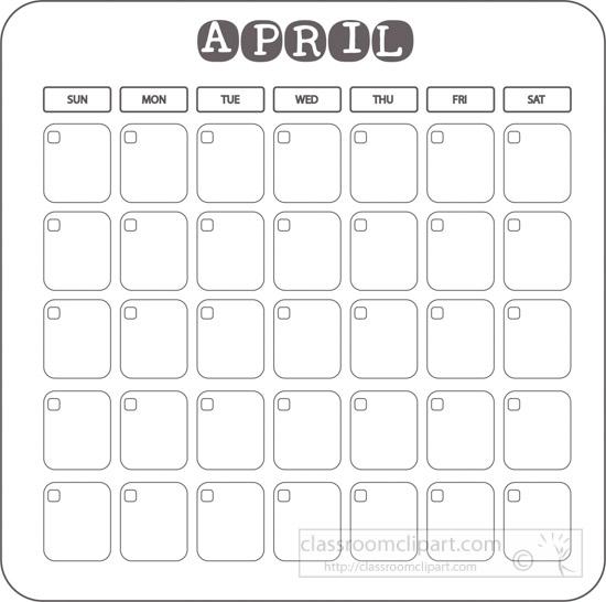 Free clip art pictures. Calendar clipart april 2017