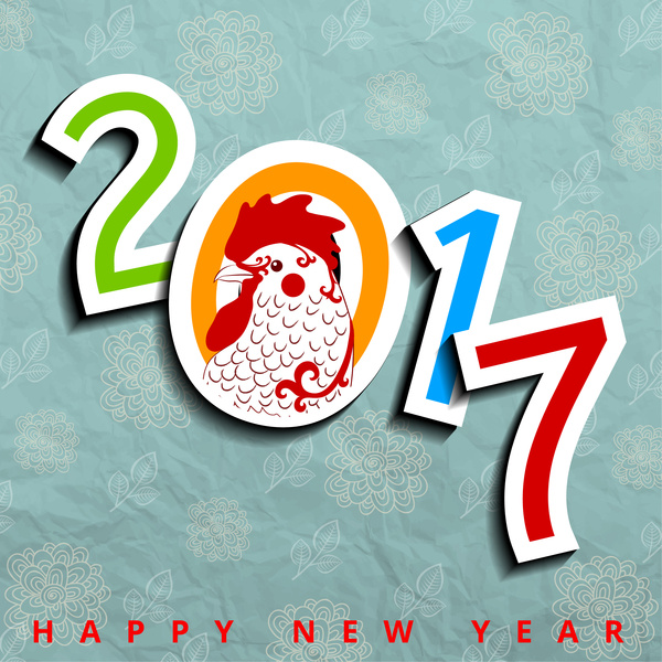 Happy new year banner. 2017 clipart chicken
