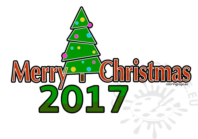 Merry coloring page . 2017 clipart christmas