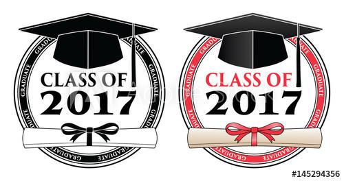 Graduating class of vector. 2017 clipart diploma