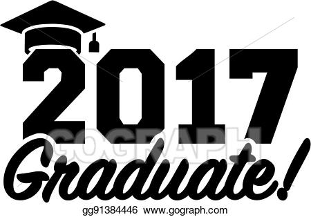 Vector art with drawing. 2017 clipart graduation hat