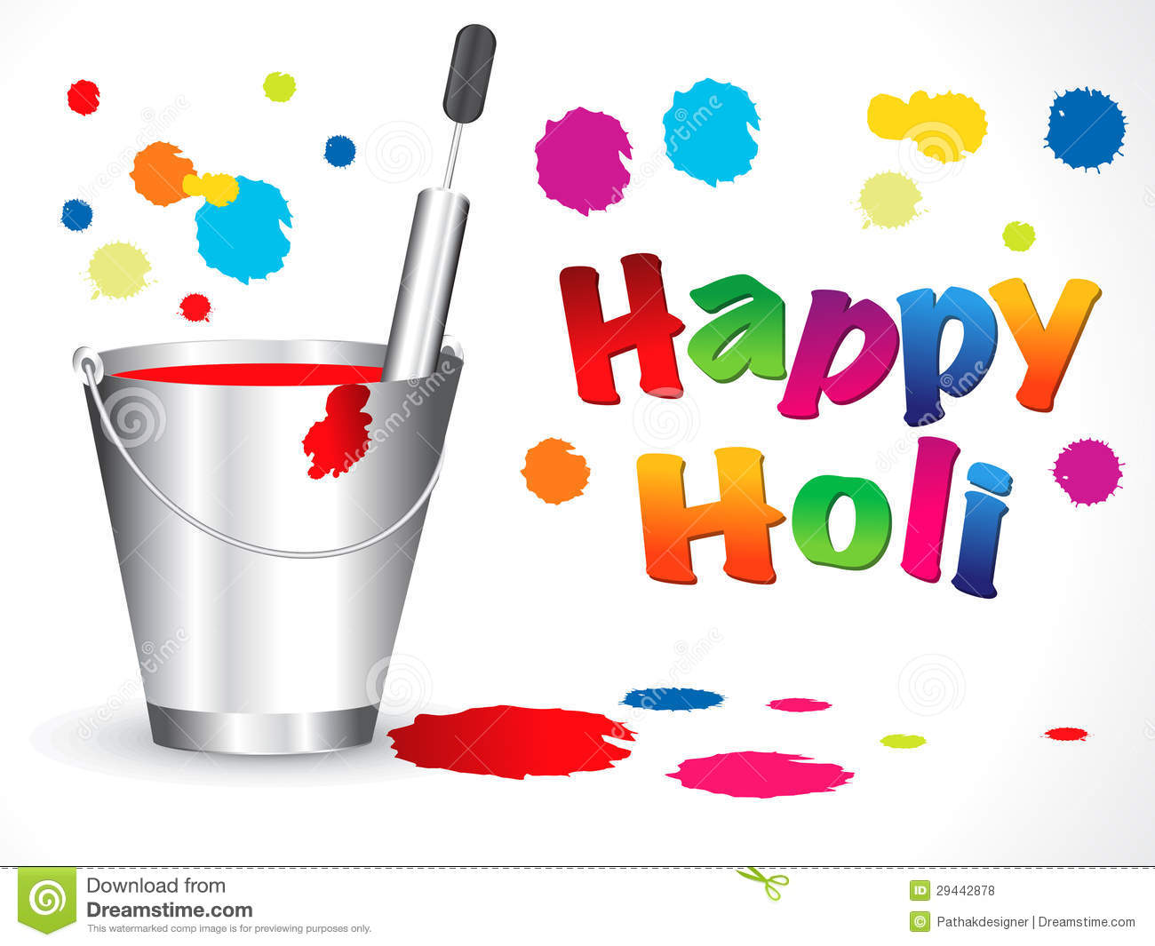 Bucket clipart holi. Abstract happy background panda