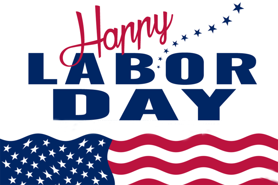 Blue background holiday text. 2017 clipart labor day