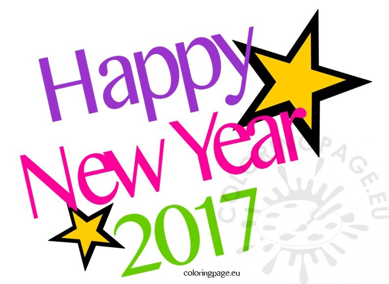 Happy year coloring page. 2017 clipart new years day