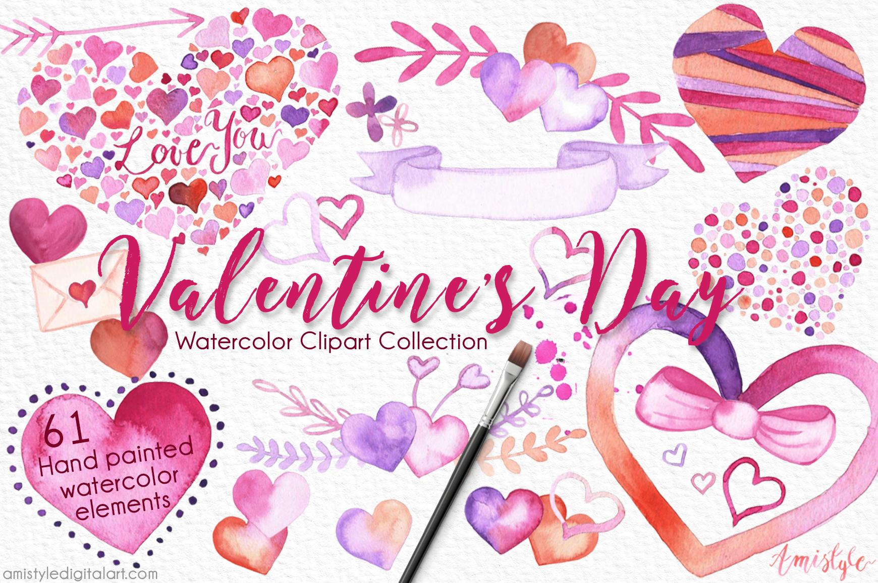 Valentine s watercolor set. 2017 clipart valentine's day