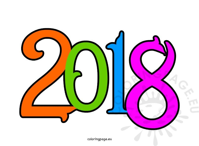 2018 clipart. Happy new year coloring