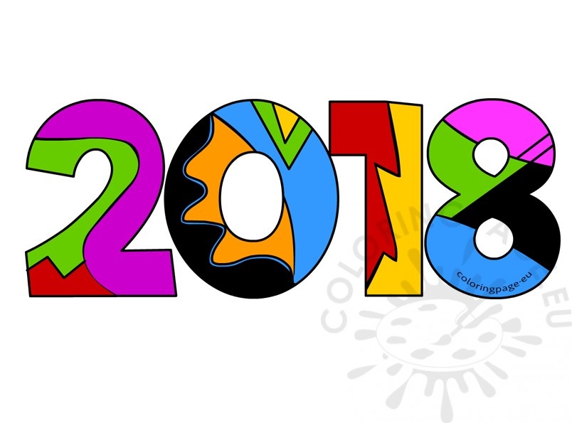2018 clipart.  new year coloring
