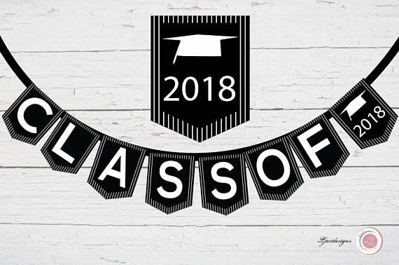 2018 clipart banner. Digital black and white