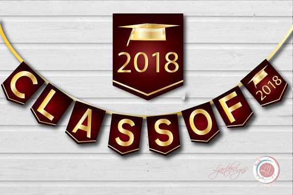 Digital maroon and gold. 2018 clipart banner