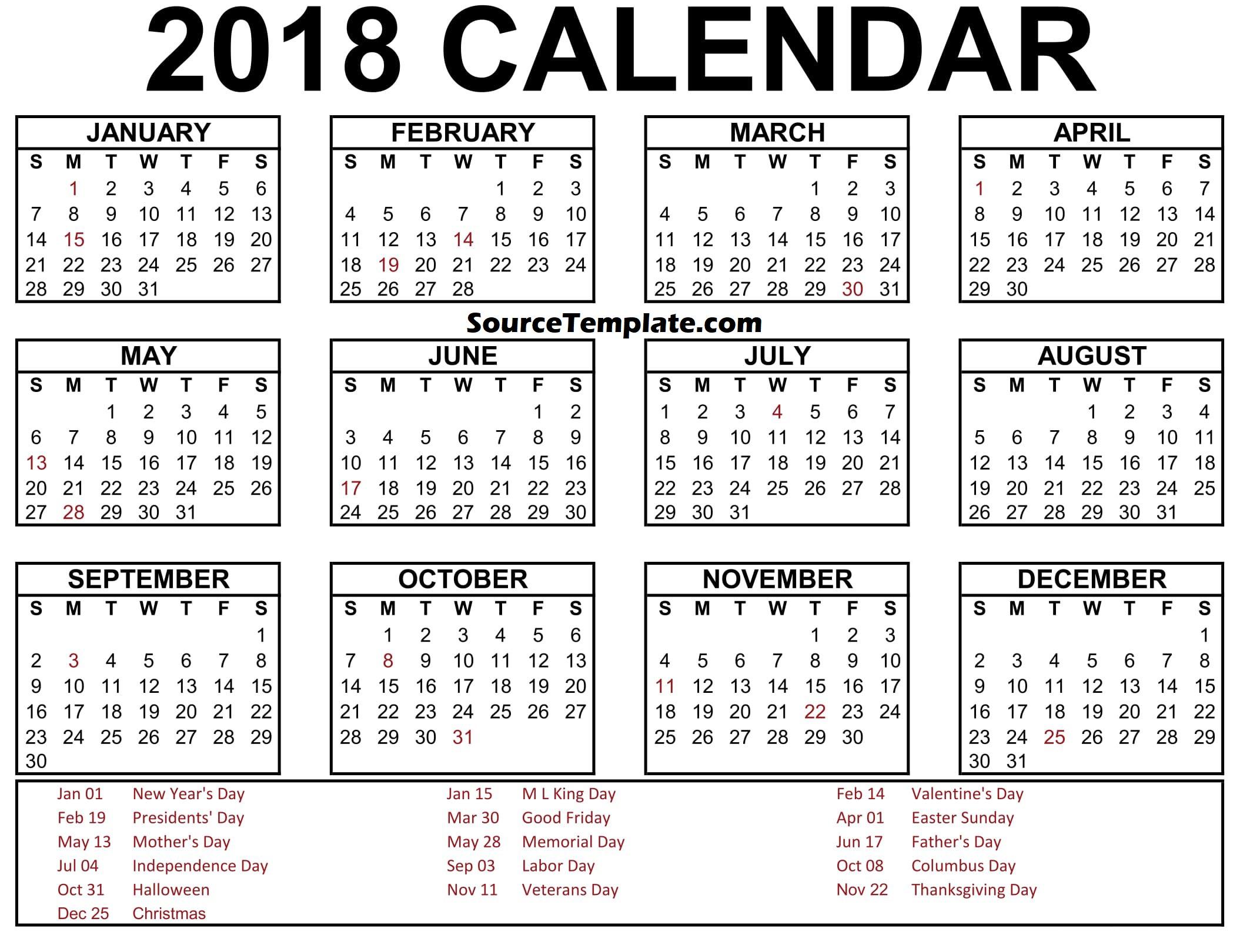 calendar printable template. 2018 clipart calender