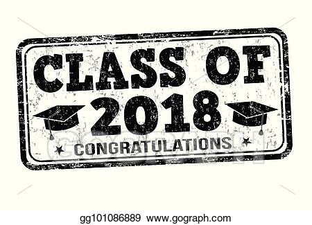 Vector illustration of stamp. 2018 clipart class