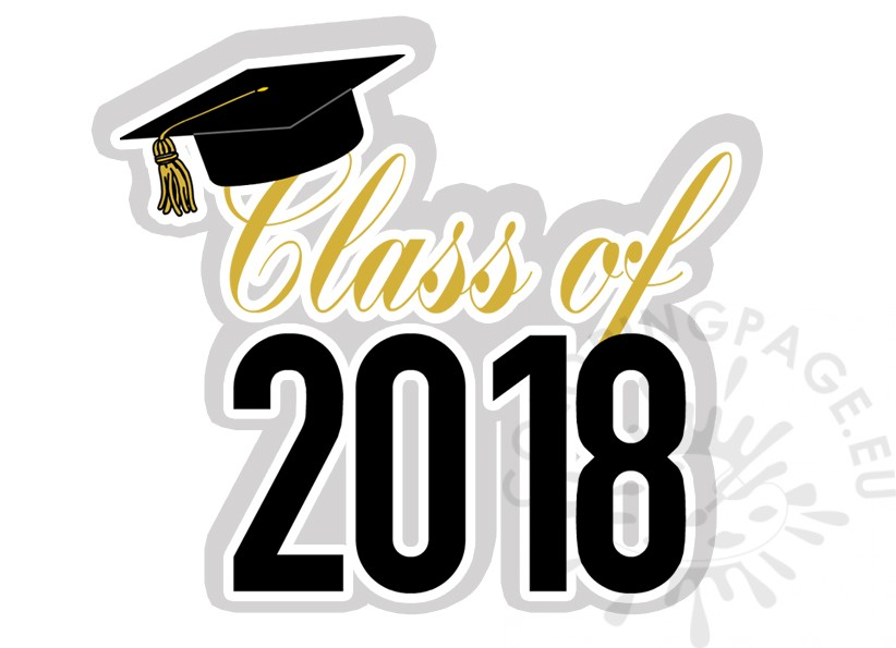 Graduation of coloring page. 2018 clipart class