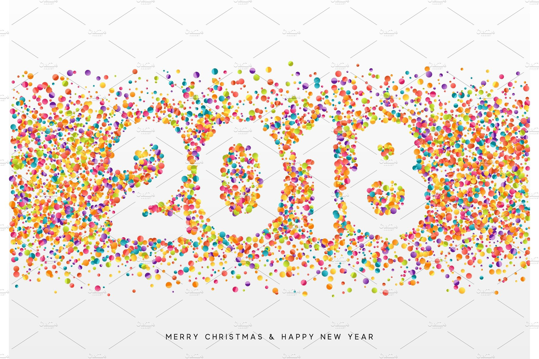 happy new year. 2018 clipart confetti