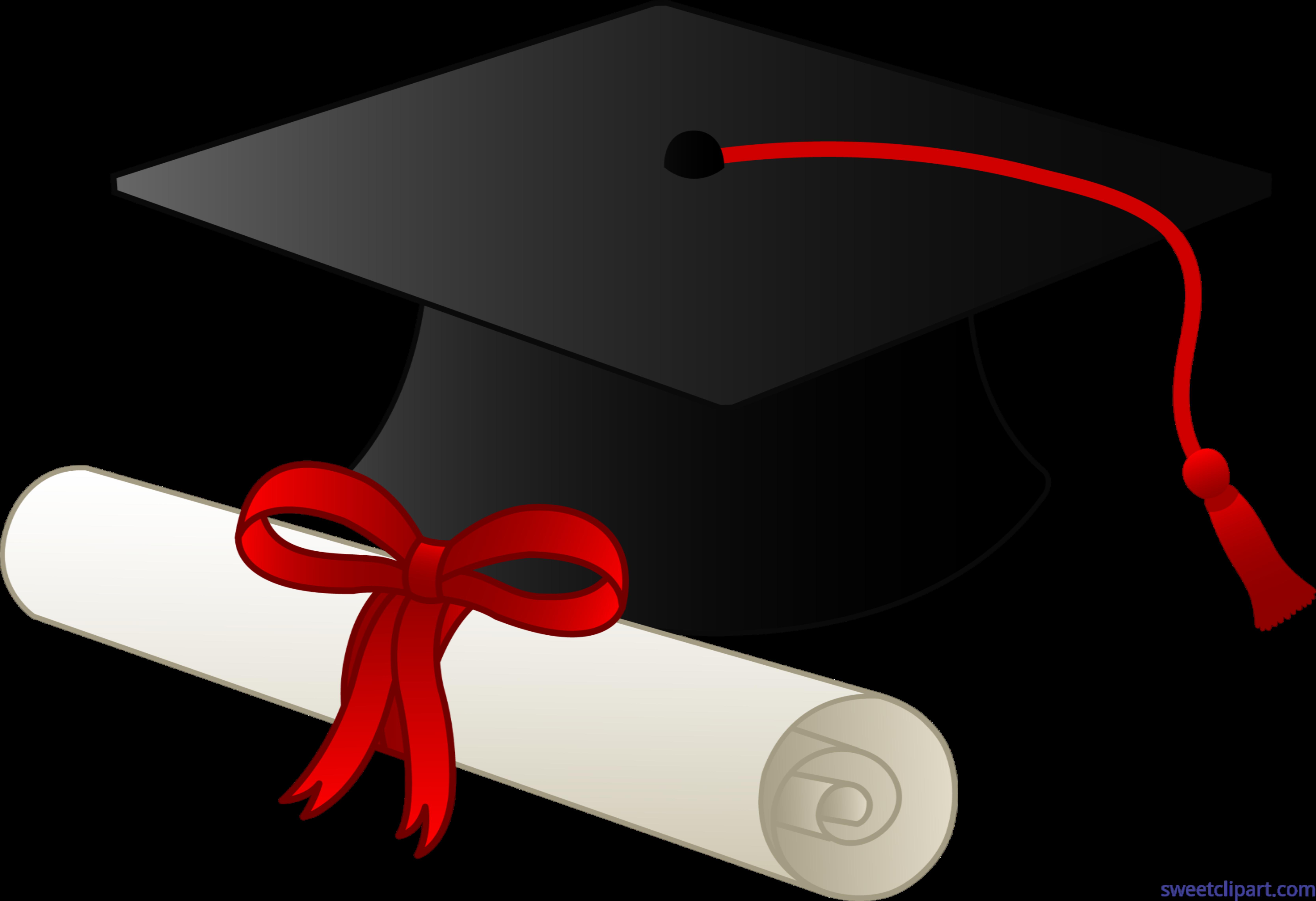 Graduation cap and diploma. Clipart hat education