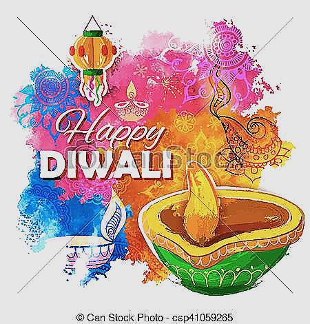 Deepavali lamp luxury burning. 2018 clipart diwali