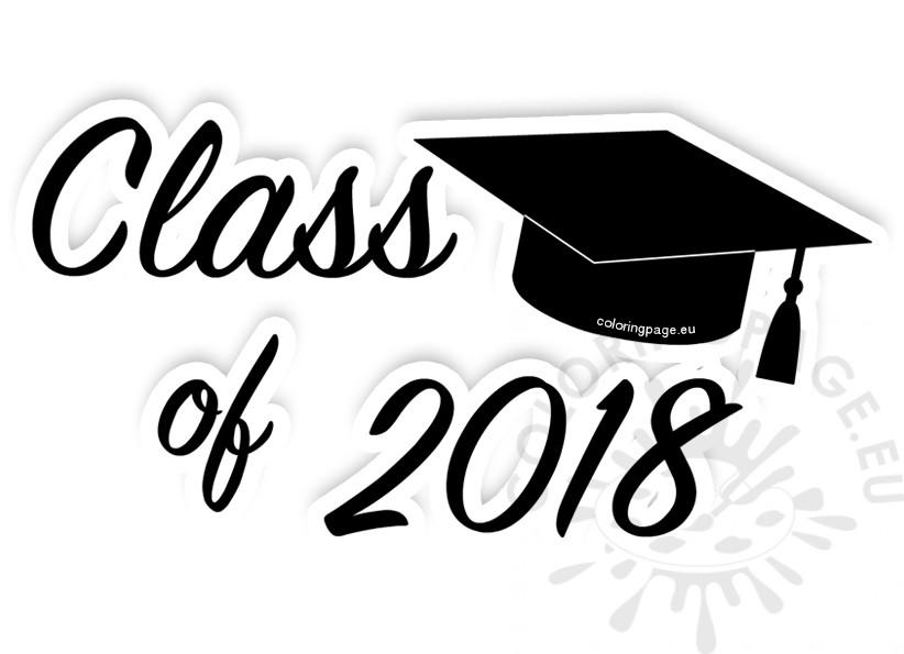 Black class of clip. 2018 clipart graduation