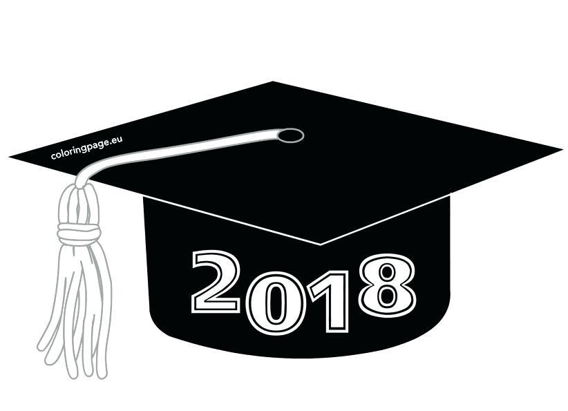 2018 clipart graduation cap. Coloring pages color luna