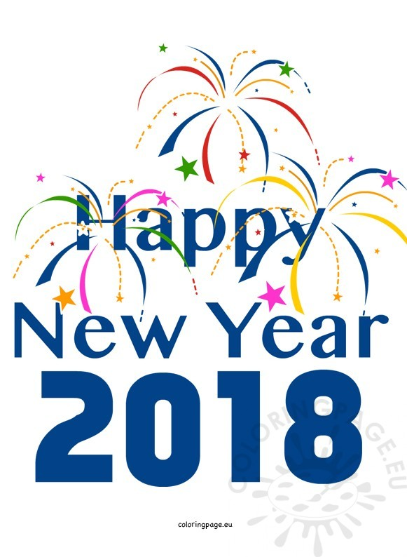 Colorful fireworks year coloring. 2018 clipart happy new years