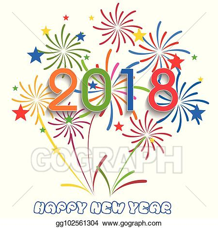 2018 clipart new year. Vector stock happy illustration
