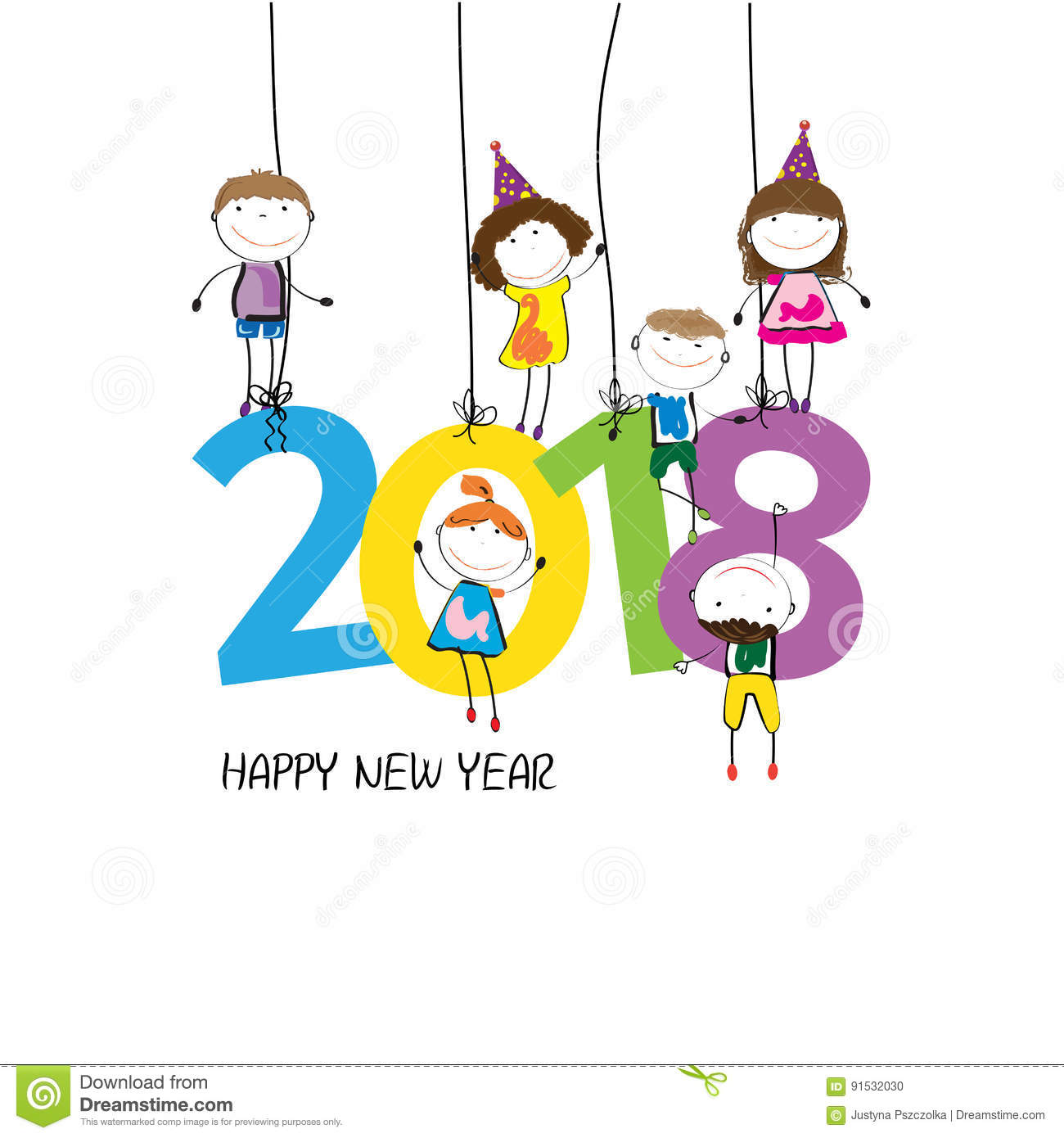 2018 clipart new year. Happy merry christmas newyearcolorfulcardhappy