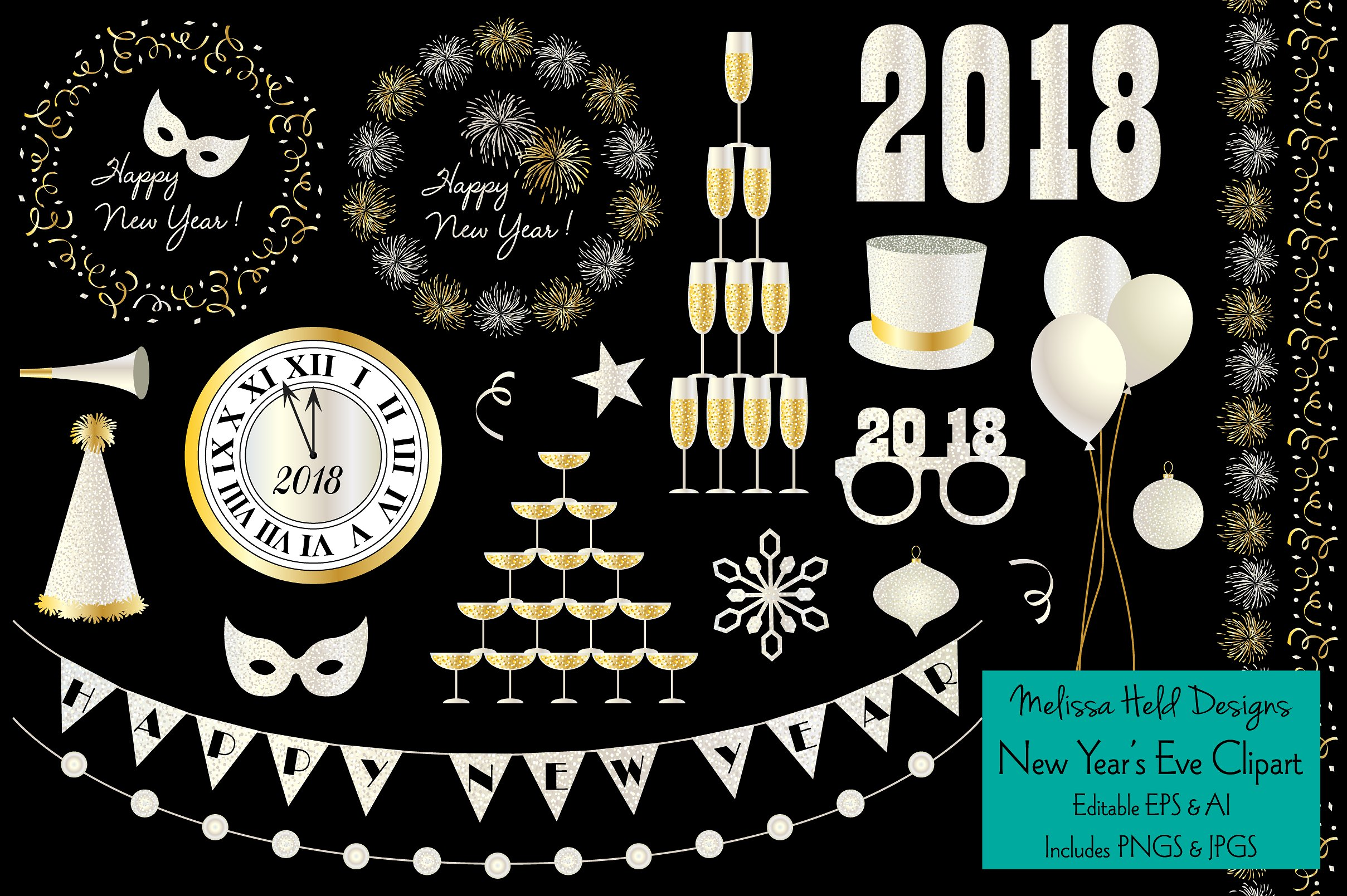 Glitter year s illustrations. 2018 clipart new year's eve