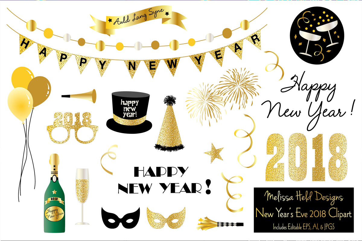 2018 clipart new year's eve. Years