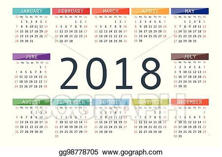 2018 clipart simple. Vector illustration calendar year