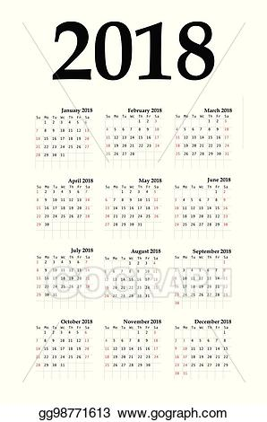 Vector illustration calendar year. 2018 clipart simple