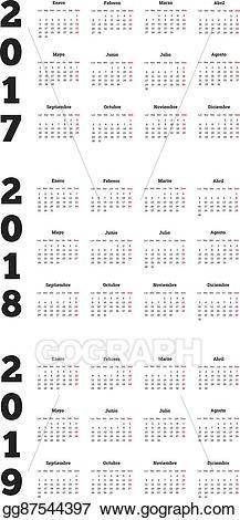 2018 clipart simple. Vector art set of